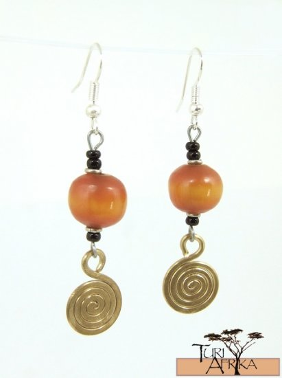 Product ID: 50     Small Round Earrings orange/Brown Kenyan Amber w/ Small Brass Swirl & Black beads