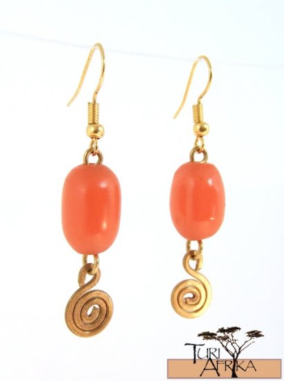 Product ID: 53     Small Orange Oval Kenyan Amber Earrings, W/ Small Brass Swirl