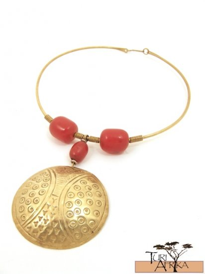 Product ID: 58     Brass Choker, Red Kenyan Amber, Large Brass Disk