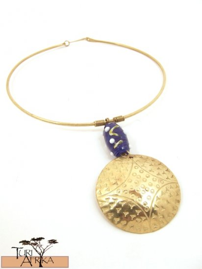 Product ID: 59     Brass Choker, Large Glas Bead, Medium Brass Disk