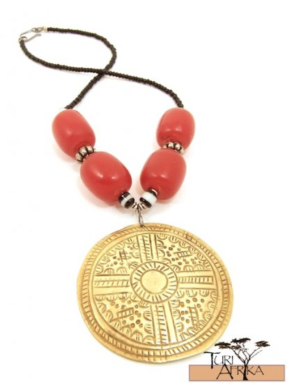 Product ID: 61 Large Brass Disk Necklace , Large Red Kenyan Amber, Black, White & Metal Beads