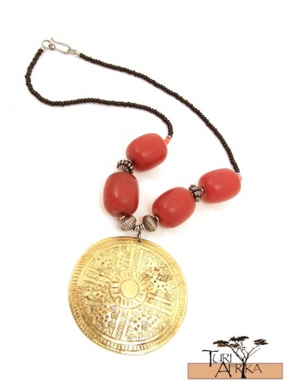 Product ID: 62 Large Brass Disk Necklace , Large Kenyan Red Amber, Metal & Red Small Beads