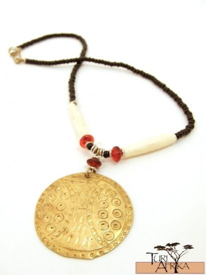 Product ID: 65     Medium Brass Disk Necklace , White Bone, Red Glass, and Black Beads