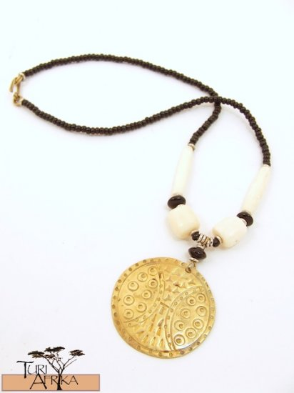 Product ID: 66     Medium Brass Disk Necklace , White Bone, and Black Beads