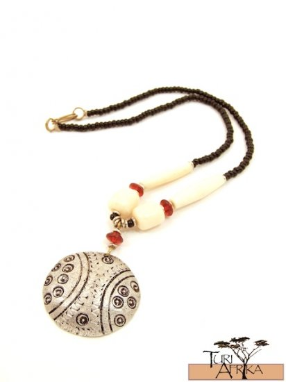 Product ID: 67     Medium Aluminum Disk Necklace , Red Glass, White Bone, Black Beads