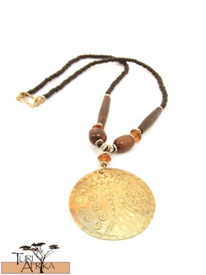 Product ID: 68     Medium Brass Disk Necklace , Brown Bone, Orange Glass, and Black Beads