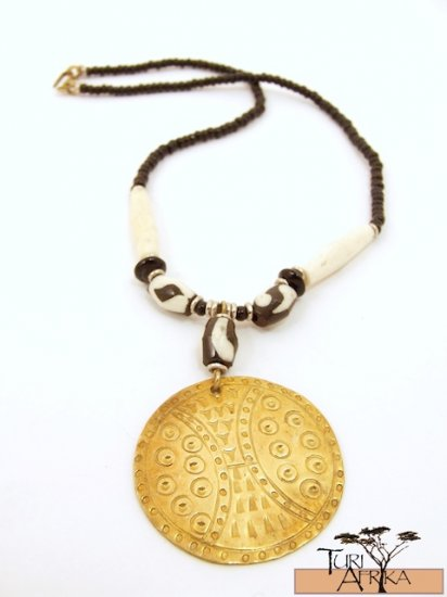 Product ID: 71     Medium Brass Disk Necklace , White and Painted Bone, and Black beads