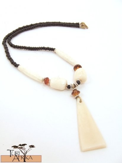 Product ID: 73     White Bone Triangle Necklace , White Bone Beads, Orange Glass, Black beads
