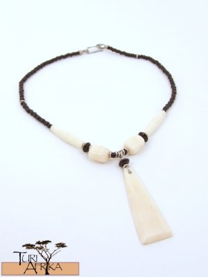 Product ID: 74     White Bone Triangle Necklace , White Bone Beads, Black Glass, Black beads