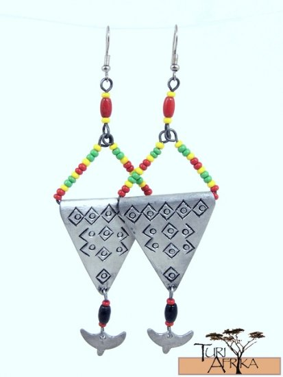 Product ID: 76     Etched Aluminum Triangle Earrings  W/ Hanging Alum and Multicolored Beads