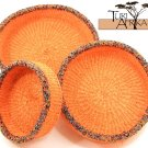 Product ID: 87     Orange Sisal and Metallic Multicolored Beaded Basket Set of 3