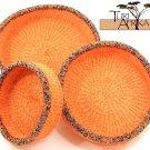 Product ID: 87     Orange Sisal and Metallic Multicolored Beaded Basket Set of 3
