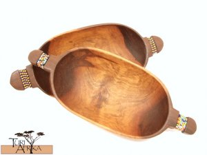 Product ID: 89     Small Oval Olive Wood Bowls W/ Beaded Handle (Sold Individually)