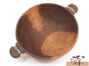 Product ID: 90     Medium Round Olive Wood Bowls W/ Beaded handle