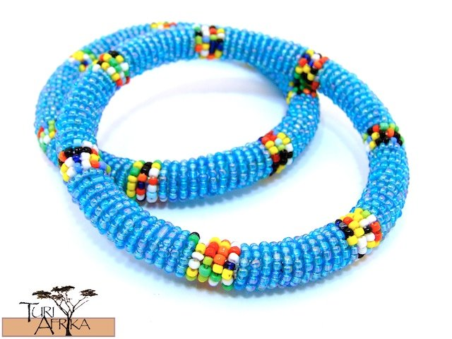 Product ID: 92     Round Beaded Flexible Bracelets (Aqua W Multicolored Bands) SET OF 2