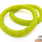 Product ID: 93     Round Beaded Flexible Bracelets (Light Green metallic) SET OF 2