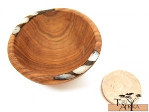Product ID: 102     Set of 5 Tiny Finger Bowls of Olive Wood and Painted Bone