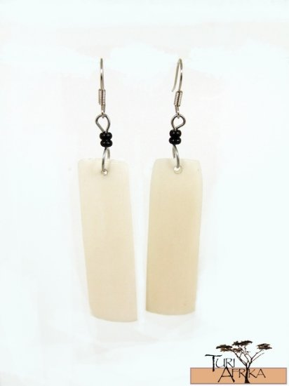 Product ID: 107     White Rectangle Bone Earrings  W/ Black Beads