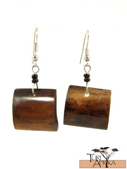 Product ID: 108      Brown Square Bone Earrings  W/ Black Beads