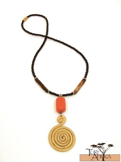 Product ID: 113     Medium Fat Brass Spiral Necklace , orange Amber, Brown Bone beads w/ Black Beads