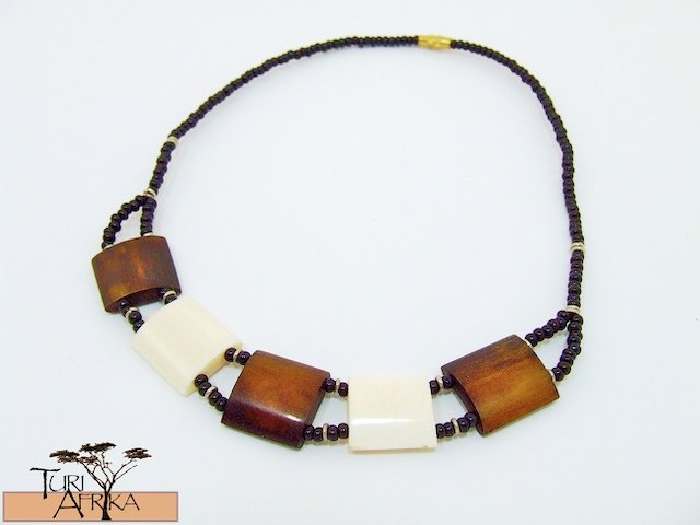 Product ID: 115     Brown & Whit Square Bone Necklace  and Black beads