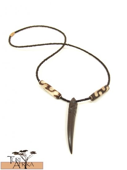 Product ID: 118     Carved Brown/Black Bone Necklace  Pointed w/ Painted Bone and Black Beads