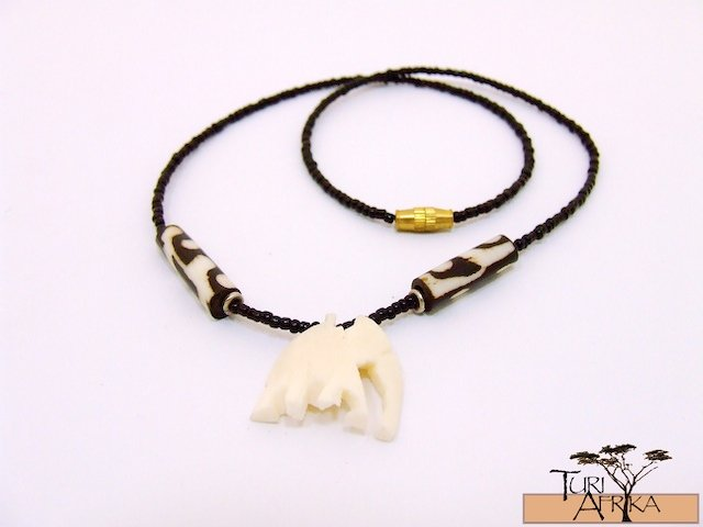 Product ID: 119     Carved White Bone Necklace  Elephants W painted bone Beads and Black beads