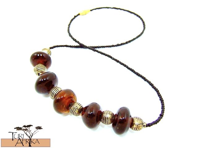 Product ID: 124     Brown Glass Beads Necklace  W/ Metal and Black beads
