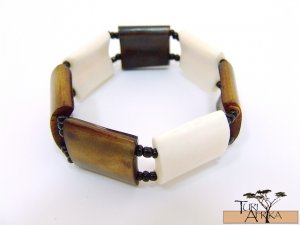 Product ID: 126     Brown and White Square Bone Braccelet  W/ Black beads