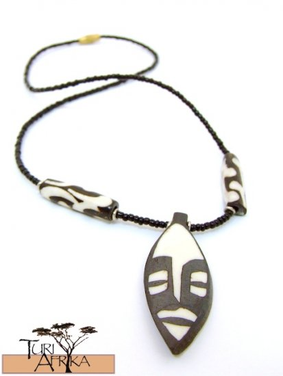 Product ID: 128     Painted Bone Mask Necklace w/ painted bone beads and Black Beads