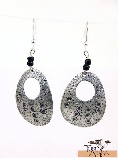 Product ID: 134     Etched Medium Aluminum Egg Shape Earrings  W Hole W 2 Black Beads