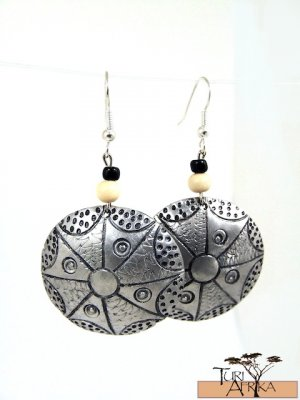 Product ID: 136     Etched Medium Aluminum Disk Earrings  W Light Wood and Black Beads