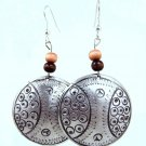 Product ID: 138     Etched Medium Aluminum Disk Earrings  W 1 Med and 1 Dark Wooden Beads