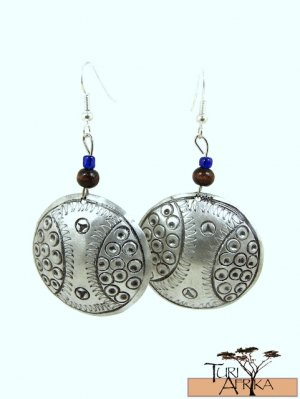 Product ID: 139     Etched Medium Aluminum Disk Earrings  W 1 Dark Wooden and 1 Small blue Beads