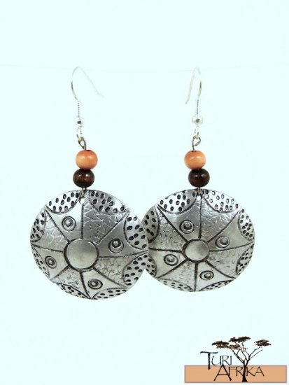 Product ID: 140     Etched Medium Aluminum Disk Earrings  W 1 Med and 1 Dark Wooden Beads