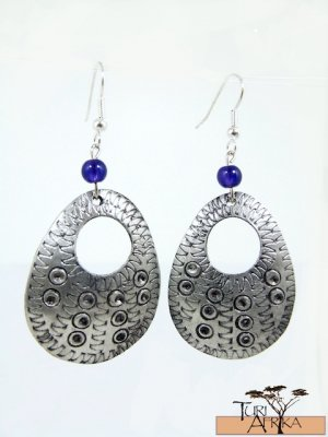 Product ID: 143     Etched Medium Aluminum Egg Shape Earrings  W Hole W Blue Glass Bead