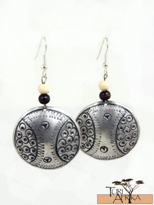 Product ID: 144     Etched Medium Aluminum Disk Earrings  W 1 Light and 1 Dark Wooden Beads