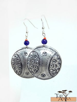 Product ID: 145     Etched Medium Aluminum Disk Earrings  W Blue Glass and Red Bead