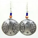 Product ID: 147     Etched Medium Aluminum Disk Earrings  W 2 small Blue and 1 Medium Wooden Bead