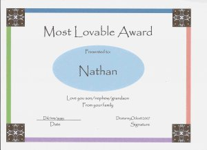 Most Lovable Certificates for Boys