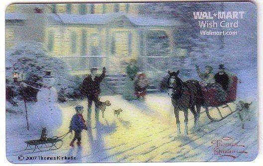 Walmart Collectible Gift Card - Lenticular - Thomas Kinkade Winter Scene VL4060