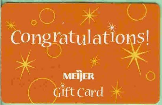 Meijer Collectible Gift Card - Orange Congratulations! Stars & Bubbles 10124xx