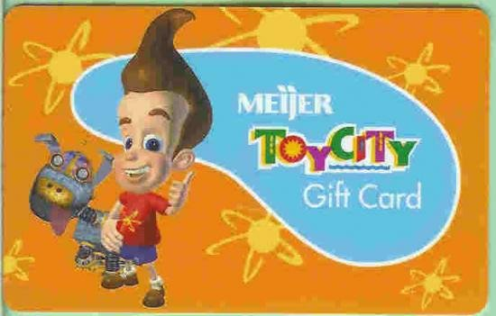 Meijer Collectible Gift Card - Toy City Jimmy Neutron Boy Genius 10049xx