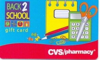 CVS Pharmacy Collectible Gift Card - Back 2 School Supplies VL-2925