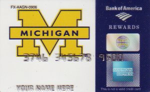 American Express Bank of America Promotional Credit Card - University of Michigan - FX-AAGN-0906