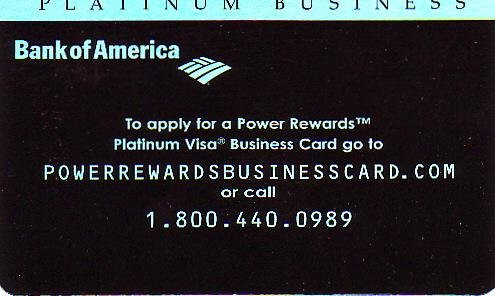 Bank of America Power Rewards Platinum Visa Business Promotional Credit Card - FC-BPR-1107