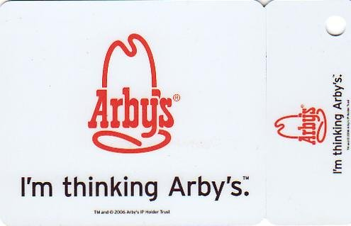Arby's Collectible Plastic Coupon Card
