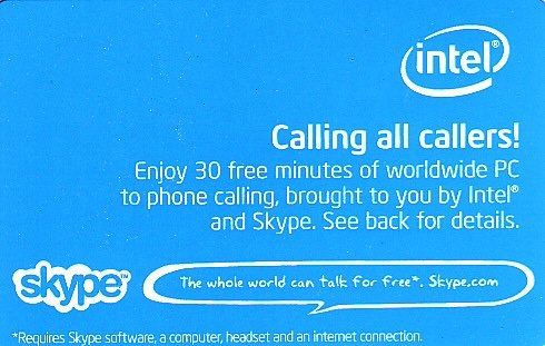 Intel/Skype Collectible Card - Free Minutes Calling Card - USED