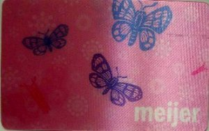 Meijer Collectible Gift Card - Lenticular - Pink Butterflies 10849xx - USED