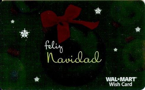 Walmart Collectible Gift Card - Green Foil - Feliz Navidad Ball Ornament VL4067